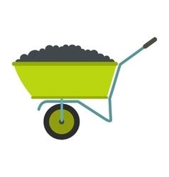 Wheelbarrow flat icon vector image