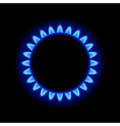 Burner Gas Ring with Blue Flame on Dark Background vector image vector image