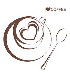 Coffee 4 Coffee cup with plate and spoon vector image vector image