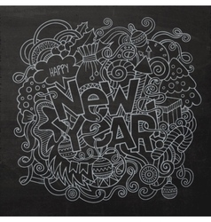 New year hand lettering and doodles elements chalk vector