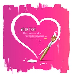 Paint brush heart shape on pink background vector image vector image