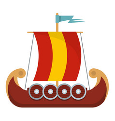 pirate ship icon flat style vector image