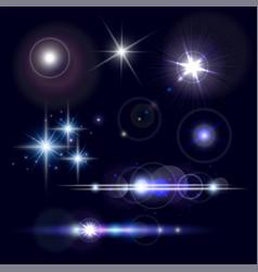 set of realistic lens flares star lights vector image