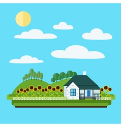 Village Landscape with House Trees and Sunflowers vector image vector image