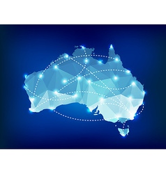 Australia country map polygonal with spot lights vector image