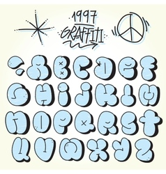 Graffiti bubble font vector image