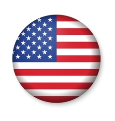American United States Flag in glossy round button vector image