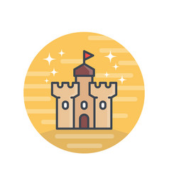 Castle medieval fortress icon vector