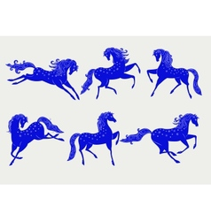 Collection of blue horses vector image vector image