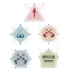 Musician Label and Badge with Icons vector image