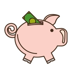 piggy savings with bill isolated icon vector image