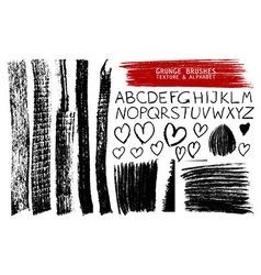 set of grunge brushes and alphabet vector image