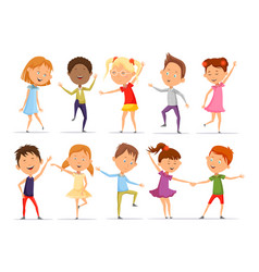 set of isolated little boys and girls dancing vector image vector image