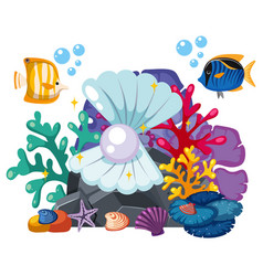 underwater scene with pearl and fish vector image vector image