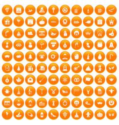 100 holidays icons set orange vector image