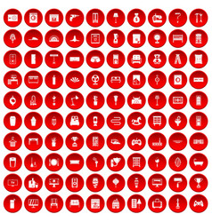 100 home icons set red vector