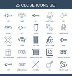 25 close icons vector image