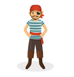 a mighty one eyed pirate wearing red head scarf vector image