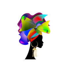 African wedding hairstyle head wrap colorful vector