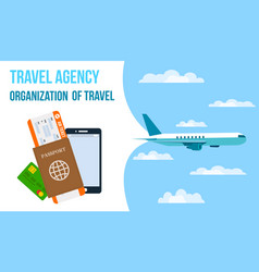 Airlines travel agency horizontal banner vector