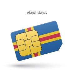 Aland islands mobile phone sim card with flag vector