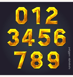 Alphabet number gold color polygon style vector