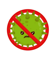 Angry bacterium in prohibition sign evil vector