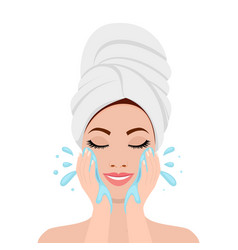 beautiful woman in process of washing face vector image