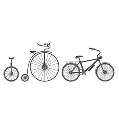 Bicycles types silhouettes vector