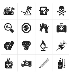Black Ebola pandemic icons vector
