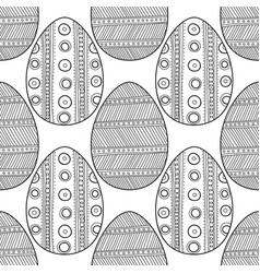 Black white seamless pattern of decorative eggs vector