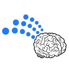 brain radio interface icon vector image