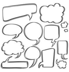 bubble speech set hand draw vector image