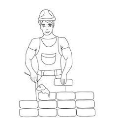 Builder working Working mason makes laying bricks vector image