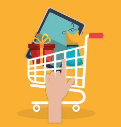 Cart shopping online icon vector