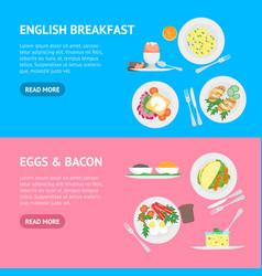 cartoon breakfast banner horizontal set vector image