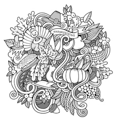 Cartoon hand-drawn Doodle Thanksgiving vector image