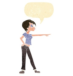 Cartoon hip woman pointing with speech bubble vector