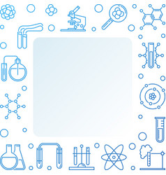 Chemistry blue square frame with chemical vector