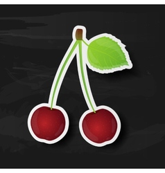 Cherry isolated on black background vector image