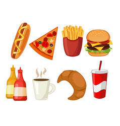 Colorful icons with fast food meals isolated set vector