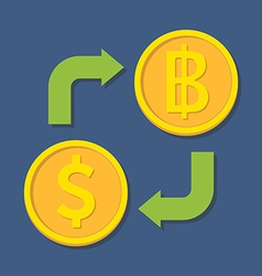 Currency exchange Dollar and Baht vector