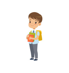 Cute boy with backpack holding books pupil in vector