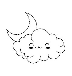 Cute cloud with moon kawaii character vector