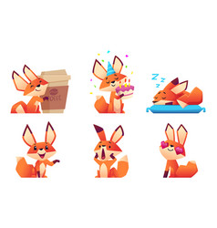 cute fox character collection wild orange animal vector image