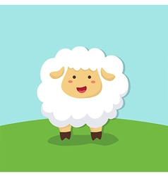 Cute Sheep Standing on Field Background vector image