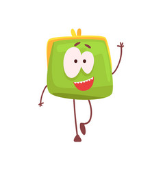 cute smiling purse character waving its hand vector image