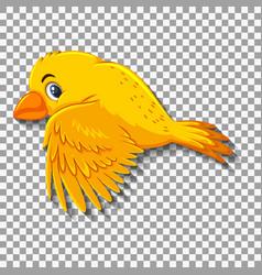 Cute yellow bird cartoon character vector