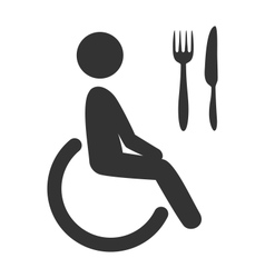 Disability man pictogram flat icon cafe isolated vector