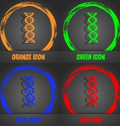 DNA icon Fashionable modern style In the orange vector image